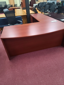 """72 X 96"""" Bowfront L Desk w/2 File Pedestals"""