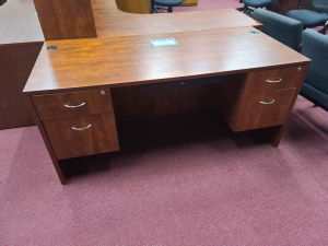 "66 x 30"" Straight Desk w/2 File Pedestals"