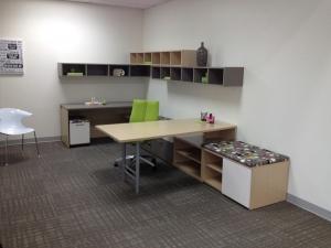 JSI Vision Modern U Shape Desk with Wall Mount Hutch
