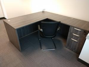 Gray Driftwood Laminate L Desk