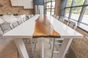 Live edge cafe table with white paint